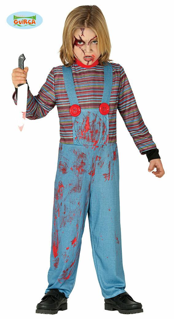 Chucky Killer doll kostuum kind verkleedkledij Halloween voor 7 tot 9 jaar Maat 128