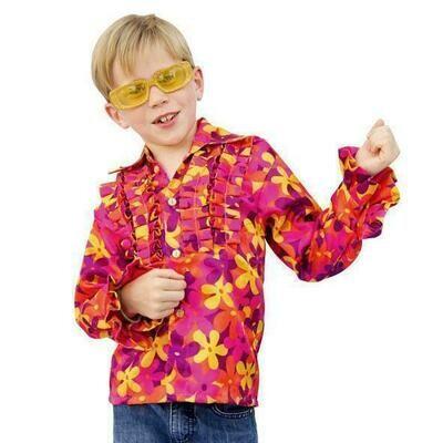Seventies hemd Hawaï verkleedpak hemd met bloemen Flower Power gebloemd hemd Hippie
