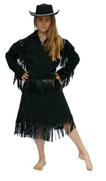 Cowgirl zwart kostuum kind verkleedkledij Country & Western verkleedpak Cowboymeisje Maat 116