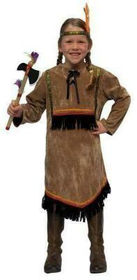 Indianenmeisje bruin kostuum kind verkleedkledij Country&Western verkleedpak Indianen Squaw