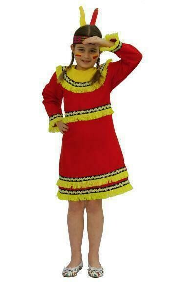 Indianenmeisje rood kostuum kind verkleedkledij Country&Western verkleedpak Indianen Squaw