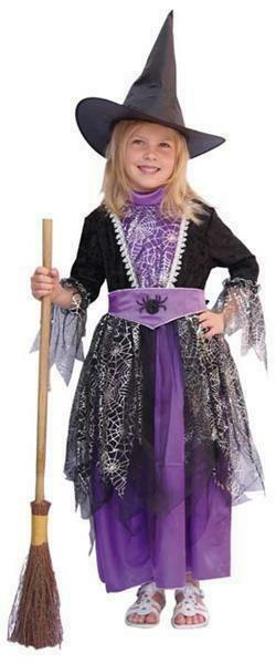 Heks kostuum kind verkleedkledij heksenkleed Halloween verkleedpak zwart/paars