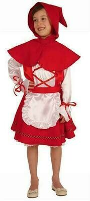 Roodkapje kostuum kind Sprookjes verkleedkledij verkleedpak effen rood met wit in Maat 104