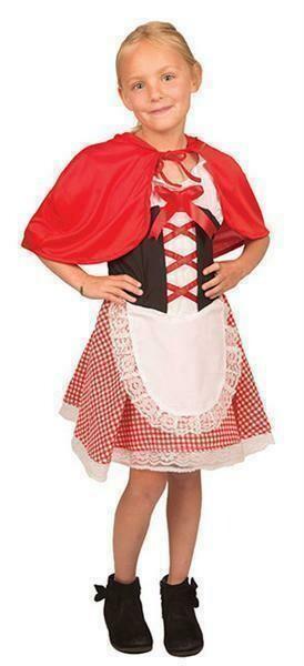 Roodkapje kostuum kind Sprookjes verkleedkledij verkleedpak met geruit rokje