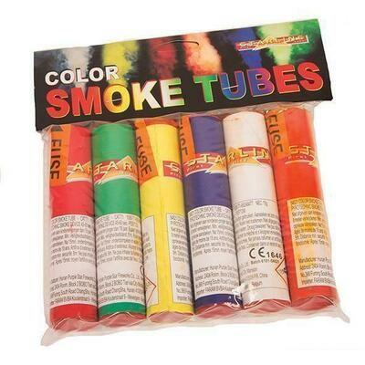 Rookstaven in rood , groen , blauw , wit , geel en oranje 45 sec .