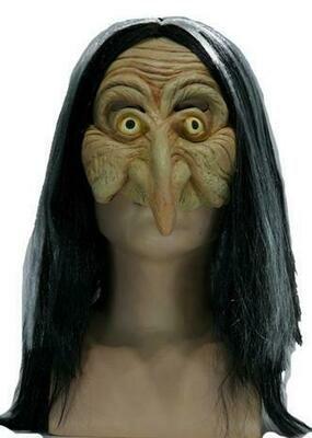 Masker Heks met haar rubber latex Halloween