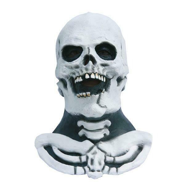 Masker Skelet met nek Geraamte Pietje de Dood  rubber latex Halloween