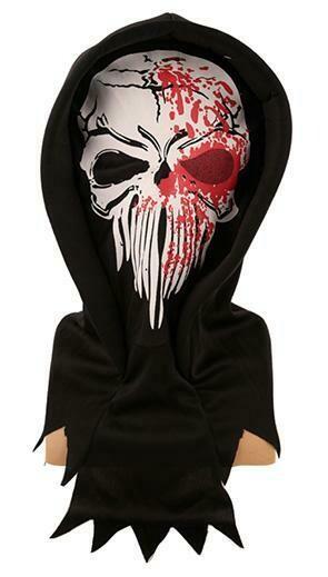 Masker skelet geraamte in stof met bloed Halloween