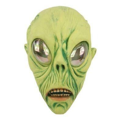 Masker Aliën groen rubber latex Halloween