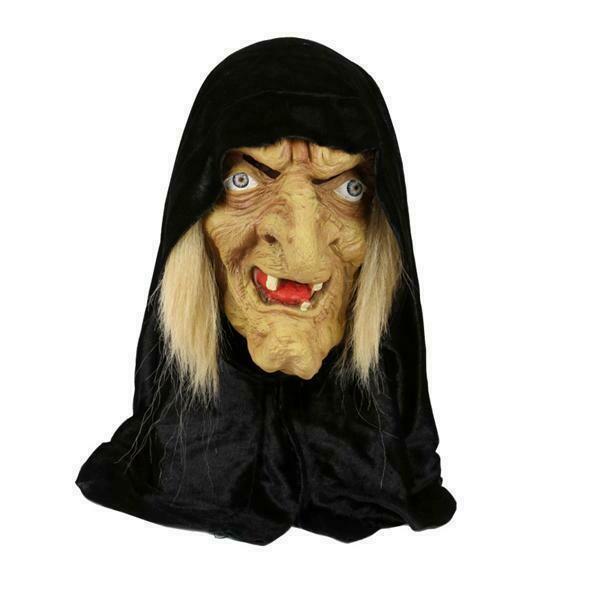 Masker Heks met zwarte kap rubber latex Halloween