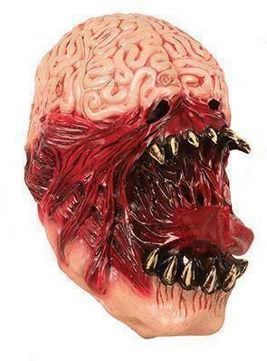 Masker griezel creepy eng met lange tong en hersenen rubber latex Halloween