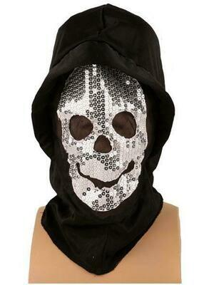 Masker scary glitter met kap zwart Halloween
