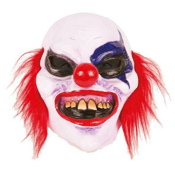 Masker Clown scary creepy met rood haar rubber latex Halloween