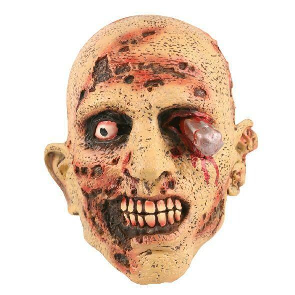 Masker Zombie met schroevendraaier door oog rubber latex Halloween