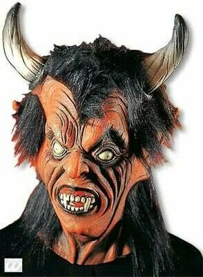 Masker Duivel luxe rubber latex Halloween Duivelsmasker met nek
