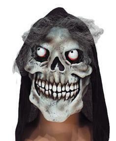 Masker Skelet met kap doodshoofd geraamte rubber latex Halloween