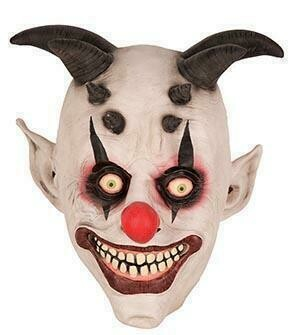 Masker Clown creepy scary clown met horens zwart rubber latex Halloween