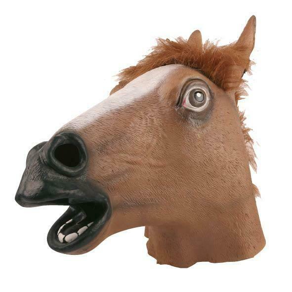 Masker paard bruin rubberen latex masker dieren boerderij