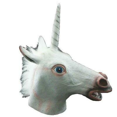 Masker eenhoorn Unicorn rubberen latex masker dieren fantasy Cosplay