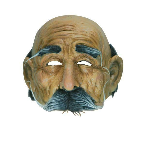 Masker oude man met snor halfmasker Rubber latex