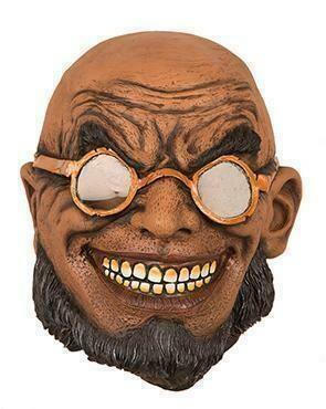 Masker man met bril goud Steampunk creep griezel rubber latex Halloween