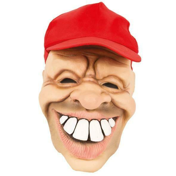 Masker man met pet rood en grote tanden rubber latex