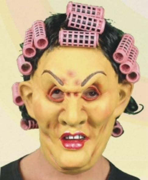 Masker krulspelden oude vrouw dame rubber latex