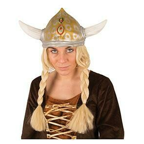 Viking helm rubber met blonde vlechten Asterix
