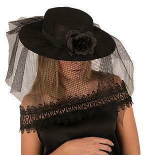 Hoed dames zwart met tule en bloem dameshoed