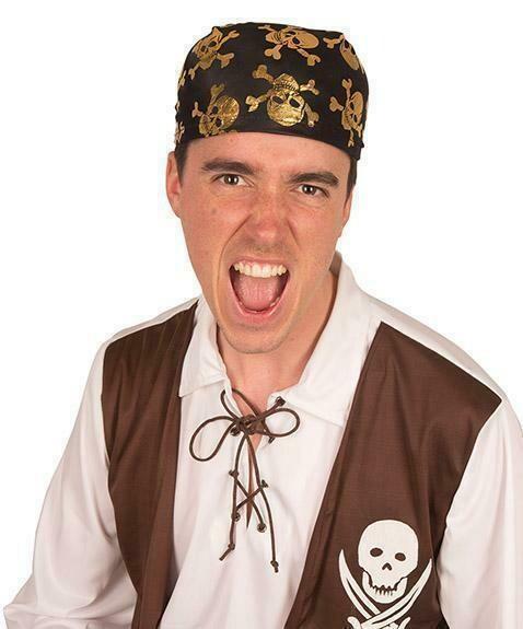 Hoed piraat piratenhoed met doodshoofden goud