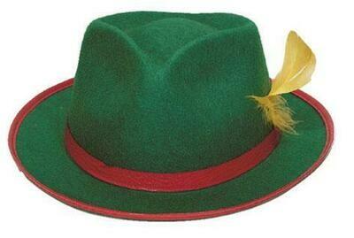 Tirolerhoed groen met rood bandje hoed Tirol Bierfeesten Oberbayern