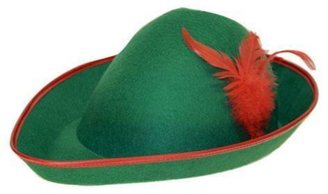 Robin Hood hoed met rode pluim