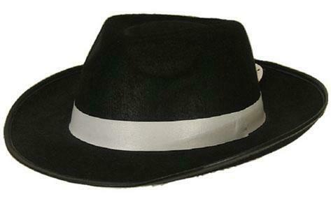 Maffia hoed jaren '20 Al Capone Charleston Twenties gangster zwart met witte boord
