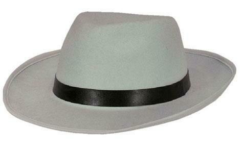 Maffia hoed jaren '20 Al Capone Charleston Twenties gangster wit met zwarte boord