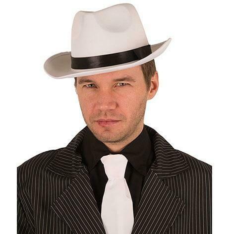 Maffia hoed jaren '20 Al Capone Charleston Twenties gangster SATIJN wit met zwarte boord