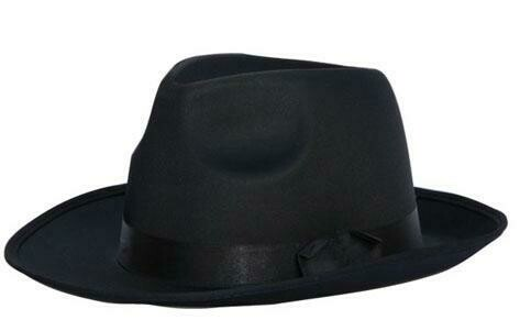 Maffia hoed jaren '20 Al Capone Charleston Twenties gangster SATIJN zwart