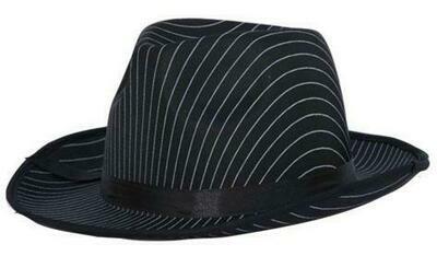 Maffia hoed jaren '20 Al Capone Charleston Twenties gangster SATIJN zwart met witte strepen