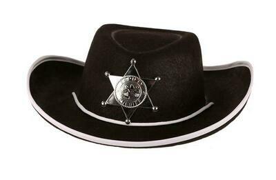 Cowboyhoed zwart kind tot 8 jaar