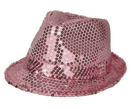 Glitterhoed roze hoed met glitters pailletten Disco Seventies - Eighties