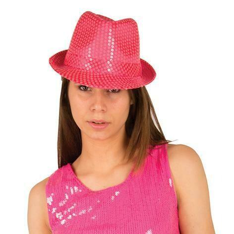 Glitterhoed neon roze fluo hoed met glitters pailletten Disco Seventies - Eighties