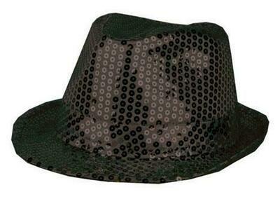 Glitterhoed zwart hoed met glitters pailletten Disco Seventies - Eighties