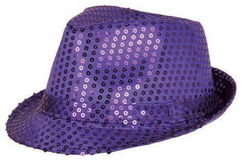 Glitterhoed paars hoed met glitters pailletten Disco Seventies - Eighties
