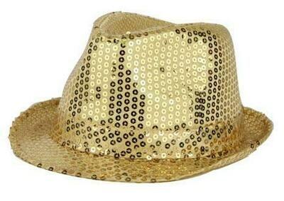 Glitterhoed goud hoed met glitters pailletten Disco Seventies - Eighties