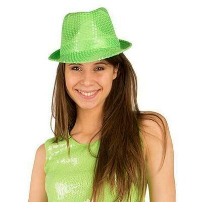 Glitterhoed neon groen fluo hoed met glitters pailletten Disco Seventies - Eighties