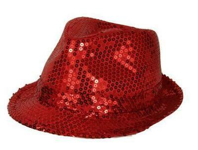 Glitterhoed rood hoed met glitters pailletten Disco Seventies - Eighties