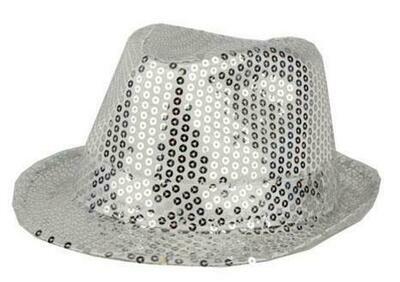 Glitterhoed zilver hoed met glitters pailletten Disco Seventies - Eighties