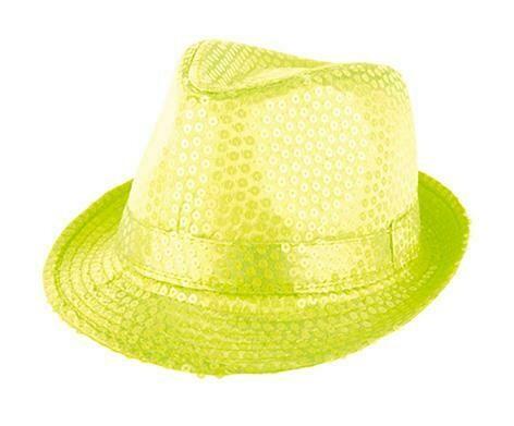 Glitterhoed neon geel fluo hoed met glitters pailletten Disco Seventies - Eighties