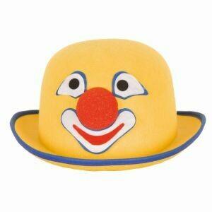 Clownshoed met gezicht hoed Clown Funny geel