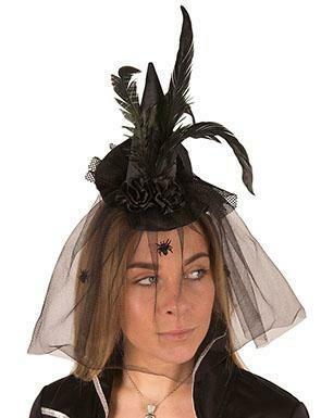 Heksenhoed mini Halloween hoedje heks klein met tule