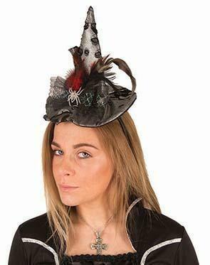 Heksenhoed mini Halloween hoed heks met pluimen en zilveren spin